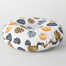 Watercolor Pumpkins -  pumpkin pattern, plaid, dots, pattern, buffalo plaid,  Floor Pillow