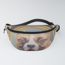 Old Gentleman. Amstaff Dog portrait in gold frame Fanny Pack