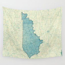 Kentucky State Map Blue Vintage Wall Tapestry