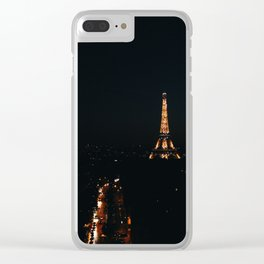 Eiffel Tower at Night from L'Arc de Triomphe Clear iPhone Case
