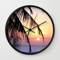 bali Wall Clocks featuring Bali Sunset by Coconut Living