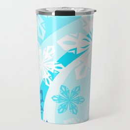 Blue Flower Art Winter Holiday Travel Mug