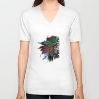 indian V-neck T-shirts featuring Indian  by mark ashkenazi