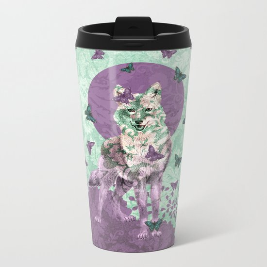 Lady Butterfly Metal Travel Mug