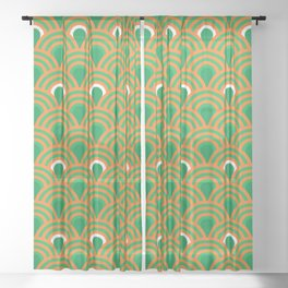 retro sixties inspired fan pattern in green and orange Sheer Curtain