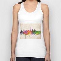 skyline Tank Tops featuring Paris skyline  by Bekim ART