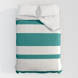 Mixed Horizontal Stripes - White and Dark Cyan Comforters