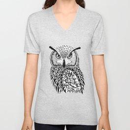 Flustered Owl Zentangle (abstract Unisex V-Neck