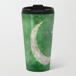 Pakistani flag, vintage retro style Travel Mug