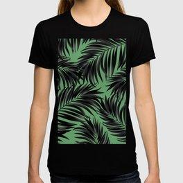 Palm Tree Fronds Black on Rainforest Green Hawaii Tropical Decor T-shirt