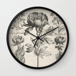 Antique floral black and white chinoiserie flower vintage Paris flowers French botanical goth print Wall Clock