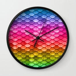 Rainbow fantasy colorful mermaid fish Scales Wall Clock