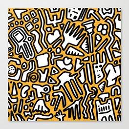 black doodle on orange Canvas Print