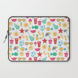 Summer time pattern with colorful beach elements Laptop Sleeve