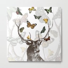 The Stag and Butterflies Metal Print