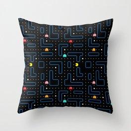 Pacman Retro Arcade Gaming Pattern Throw Pillow