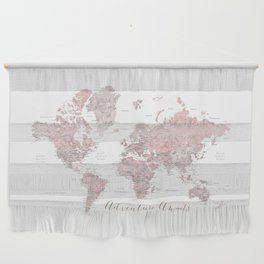 World map in dusty pink & grey watercolor, Adventure awaits Wall Hanging
