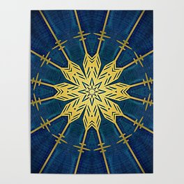 Navy Blue and Brushed Gold Flower Poster