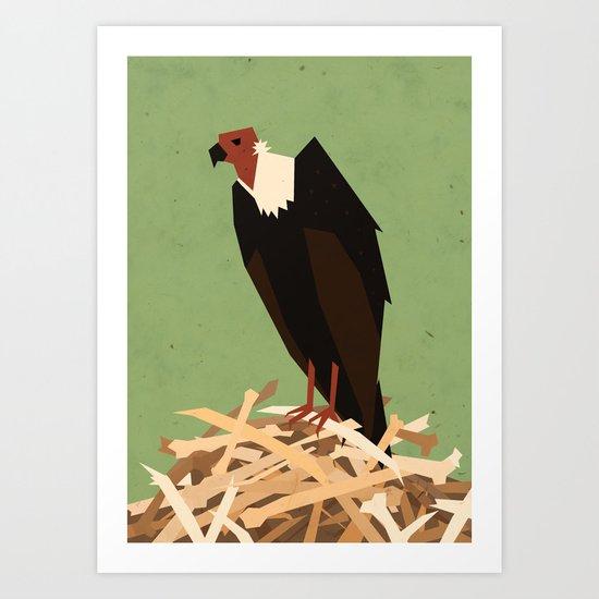 V is for Vulture Art Print