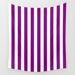 Narrow Vertical Stripes - White and Purple Violet Wall Tapestry