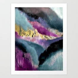 Gemini: a vibrant, colorful abstract piece in gold, purple, blue, black, and white Art Print