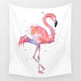 Pink Flamingo Watercolor Tropical Animals Bird Wall Tapestry
