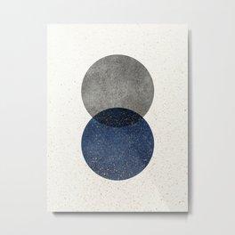 Circle Abstract - Grey Navy Texture Metal Print