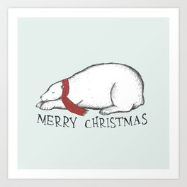 Dreaming Christmas Polar Bear Art Print