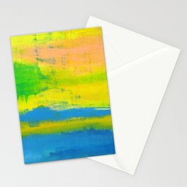 'A Sunny Day' Yellow Coral Blue Abstract Art Stationery Cards