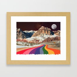 Trippy 1960s Stars and Moon Retro Red Rock Canyon Collage Milky Way Galaxy Colors Framed Art Print