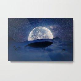 flying night whale Metal Print
