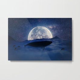 flying night whale Metal Print