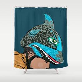 The Shark Helmet Shower Curtain