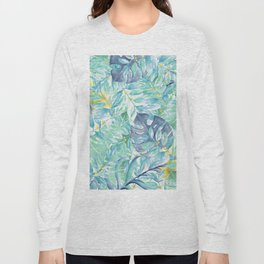 Modern teal green yellow watercolor tropical leaves Long Sleeve T-shirt