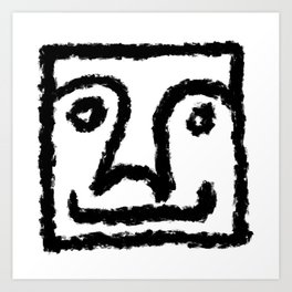 Minimalist Brush Stroke Face 011 Art Print