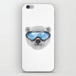 Portrait of Polar Bear with ski goggles. iPhone Skin