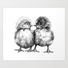Baby Chicks - Little Kiss G133 Art Print