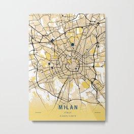 Milan Yellow City Map Metal Print