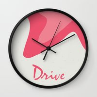 movie poster Wall Clocks featuring Drive - Movie Poster by ahutchabove