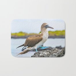 Blue-footed booby Galapagos bird Bath Mat
