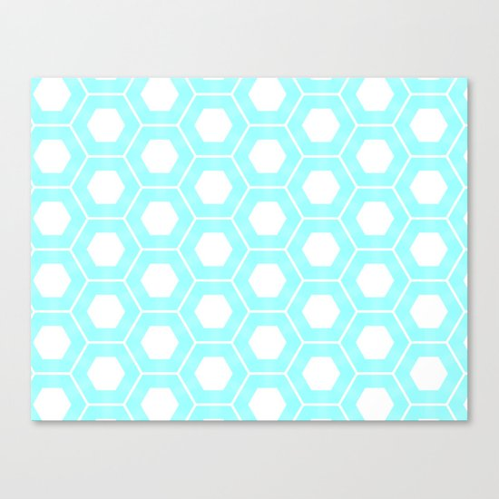 Nieuwland Powder Blue Hexagons Pattern Canvas Print