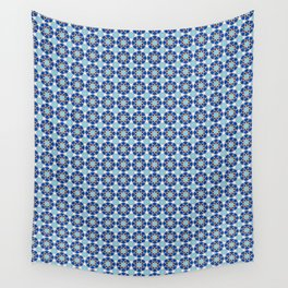 Islamic geometric Moroccan pattern in blue Wall Tapestry