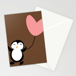 Penguin in love Brown Stationery Cards