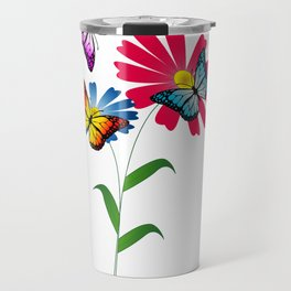 Colorful butterflies and flowers Travel Mug