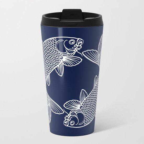 Indigo Navy Blue Koi Metal Travel Mug