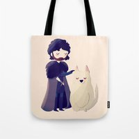 thrones Tote Bags featuring Night Gathers by Nan Lawson