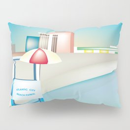 Atlantic City, New Jersey - Skyline Illustration by Loose Petals Pillow Sham