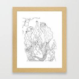 Two mermaids, many pearls Framed Art Print