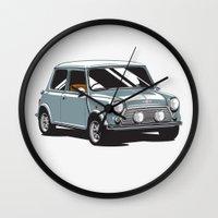 mini cooper Wall Clocks featuring Mini Cooper Car - Gray by C Barrett