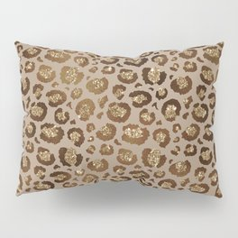 Brown Glitter Leopard Print Pattern Pillow Sham